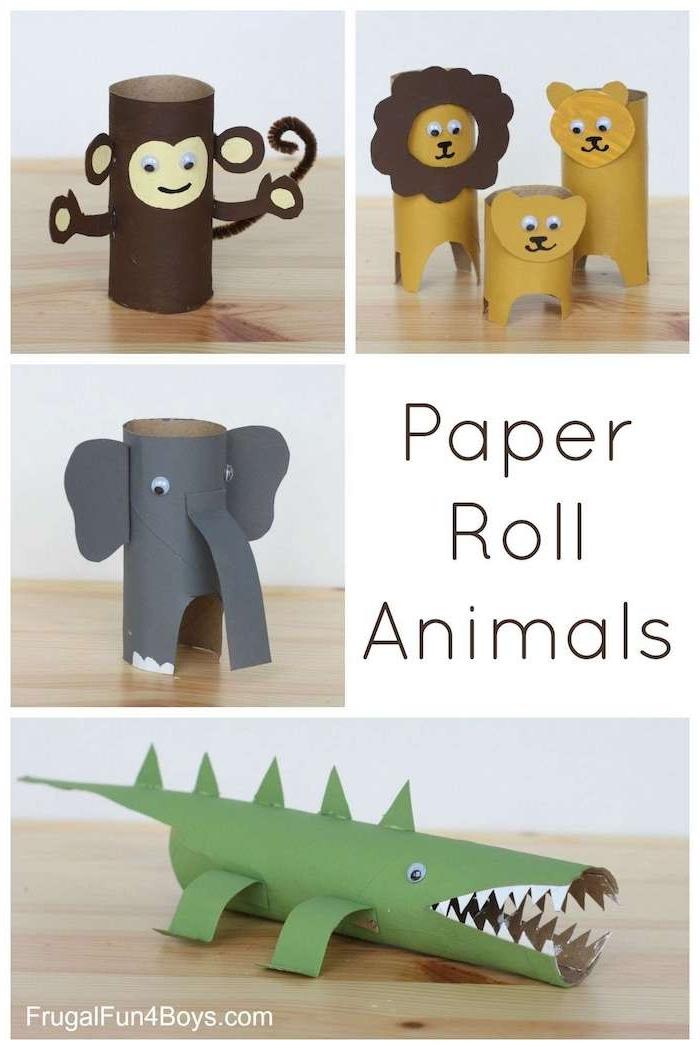 kleine tiere aus klorollen aus papier, bastelideen mit papier, kleine braune affen, gelbe löwen und graue elefanten und ein tisch aus holz, basteln mit papier, recycling basteln ideen