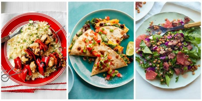 drei gesunde Speisen zum Mittagsessen, Diät essen, Reis, Spiess, Kichererbsen und Spinatt