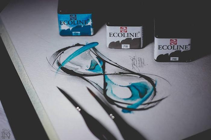 blaue und weiße farben und eine schwarze pinsel, ein bild mit einer schwarzen sanduhr mit einem blauen sand, watercolor painting