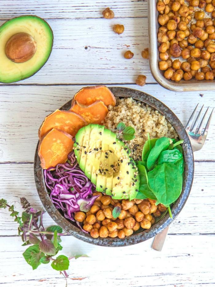 Kichererbsen, Kohl, Avocado, Sesam, alle nützliche Zutaten für Diät Essen