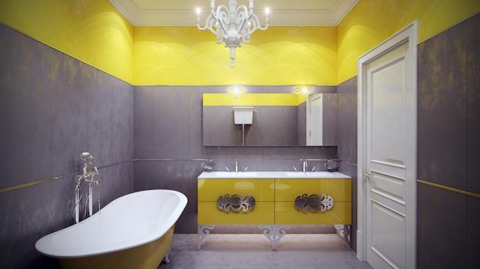 wandfarbe gelb, ein badezimmer mit einer weißen badewanne und mit grauen und gelben wänden und einem spiegel und gelben badmöbeln, wand strewichen muster