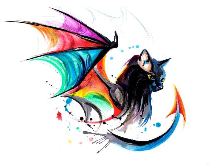 eine große schwarze katze mit gelben augen und mit einem langen blauen bein und mit großen bunten flügeln, watercolor painting, katrzen tattoos