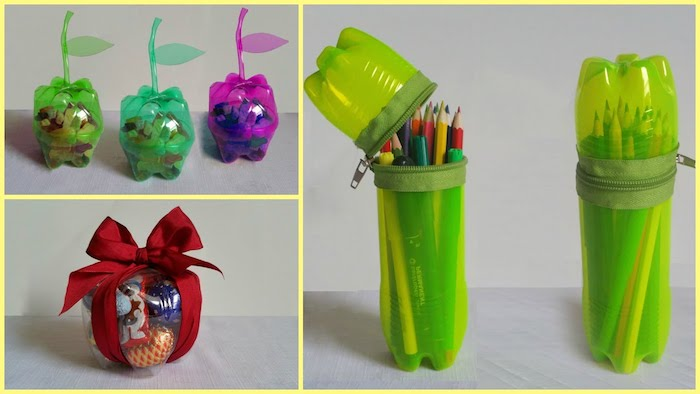 rote, violette und grüne stifthalter aus alten kleinen flaschen aus plastik und vielen bunten bleistiften