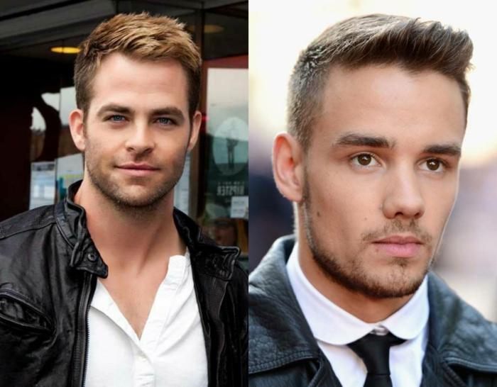 zwei coole Männer mit modernen Frisuren, blonde Haare und braune Haare, Kurzhaarfrisuren Männer