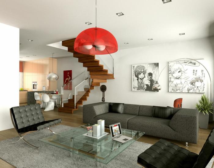 welche Farbe passt zu Grau, graue Sessel und graue Couch, grauer Teppich, roter Lampenschirm