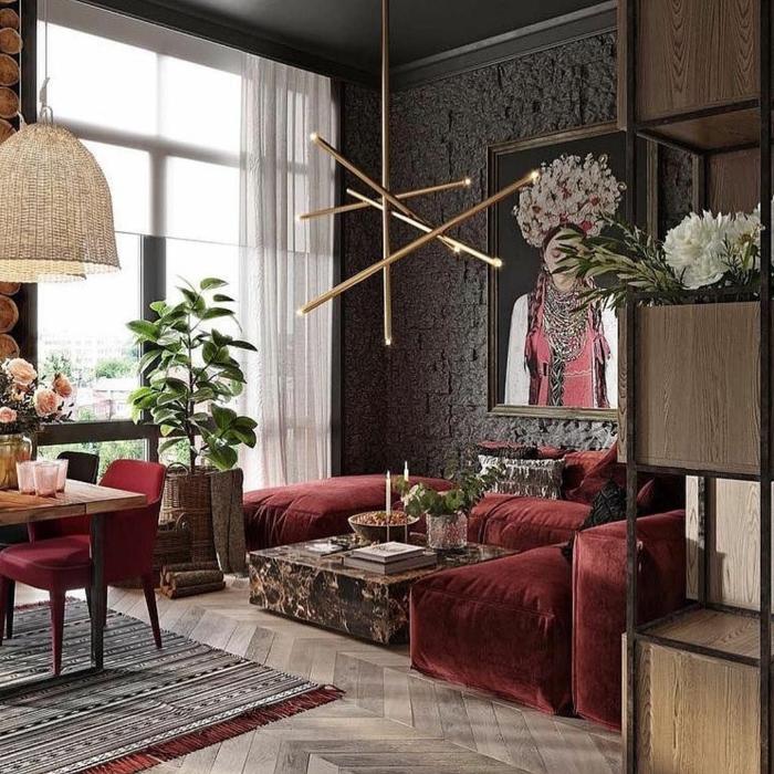 welche Farbe passt zu Bordeauxrot, bordeauxrote Möbel, graue Wände, in einer Einzimmerwohnung
