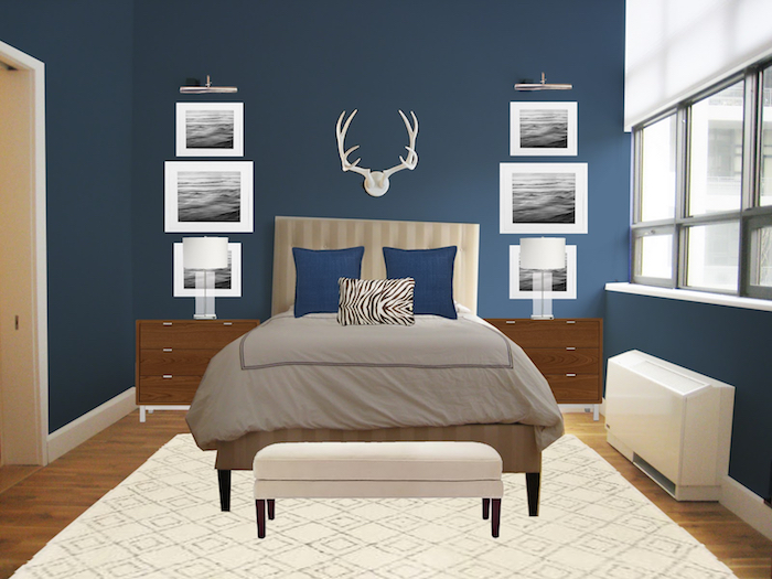 ein weißer hirsch, ein sschlafzimmer mit einer blauen wand und mit einem bett mit kleinen blauen kissen und mit einer grauen decke, wand streichen ideen