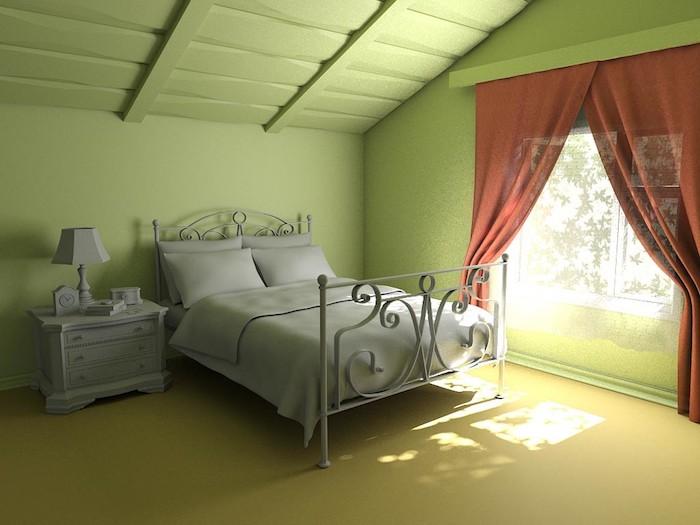 ein schlafzimmer mit grünen wänden und mit einem grauen bett mit einer grauen decke und grauen kissen, ein fenster mit einem roten vorhang, wand streichen ideen wohnzimmer
