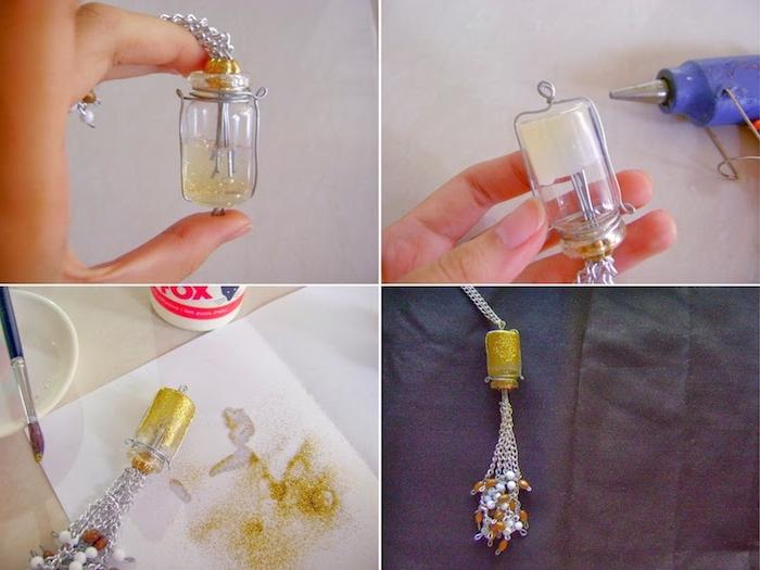 eine diy anleitung in vier schritten, eine hand und eine kette mit einer kleinen alten goldenen flasche für kontaktlinsen