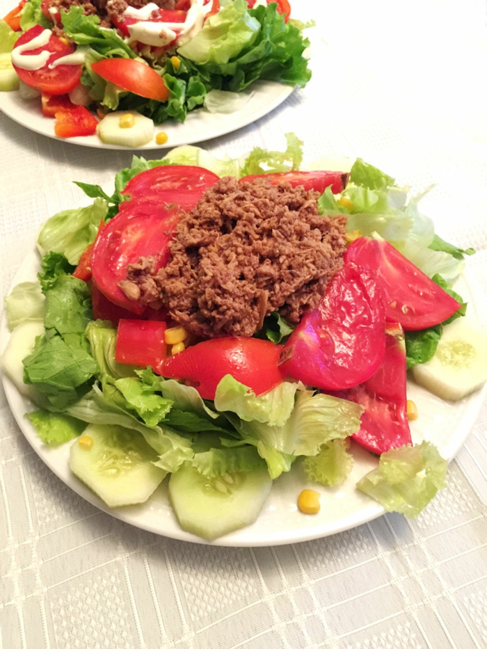 Salat aus Gurken, Tomaten, Salatblätter, Hackfleisch, erfolgreich abnehmen