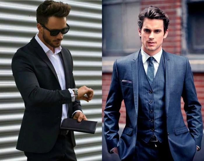 zwei Männer mit Anzügen, elegante Frisuren, welche Frisur passt zu mir, stilvolle Outfits