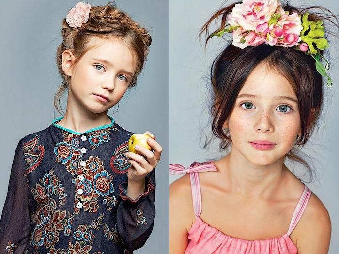 Lässige Hochsteckfrisuren für Kinder, echte Blumen im Haar, Zopfkranz und Pferdeschwanz