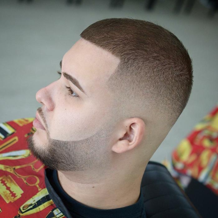 ein ganz kurze Frisur auf den Bart abgestimmt, welche Frisur passt zu mir für Männer