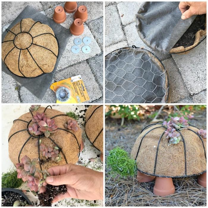Gartendeko Basteln Naturmaterialien, Kleine Grüne Pflanzen, Schildkröte Aus  Stroh, Diy Bastelanleitung