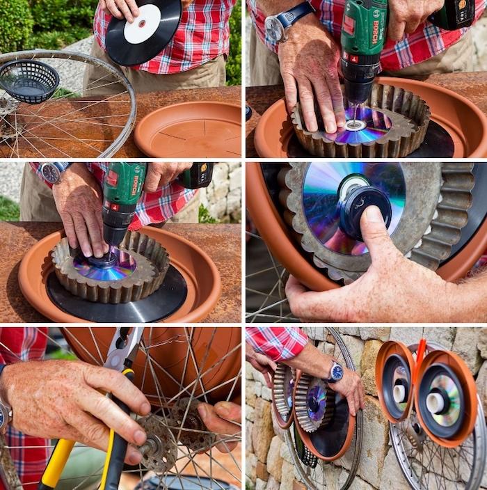 gartendeko ideen zum selbermachen, eulen basteln aus rahrradteilen, discs und verschlussdeckeln
