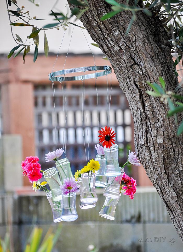 gartendeko selber machen, baum deko, mobile basteln, vasen aus einmachgläsern