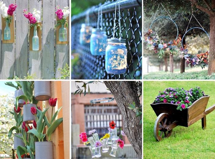 windlichter aus einmachgläser, gartendeko selber machen, vasen aus glasflaschen, frühlingsdeko diy, basteln mit konservendosen