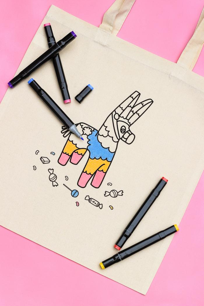 Tasche selber bedrucken, Motiv ausmalen, tolle Idee für selbstgemachtes Geschenk