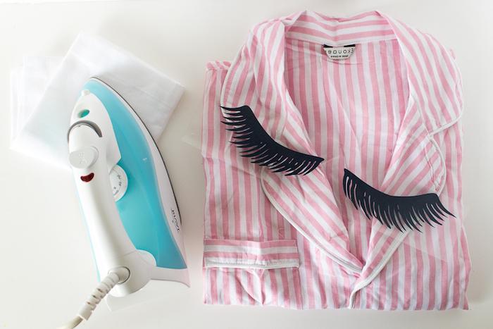 Schlafanzug selbst bedrucken, Wimpern Schablone kleben, cooles Geburtstagsgeschenk für Freundin