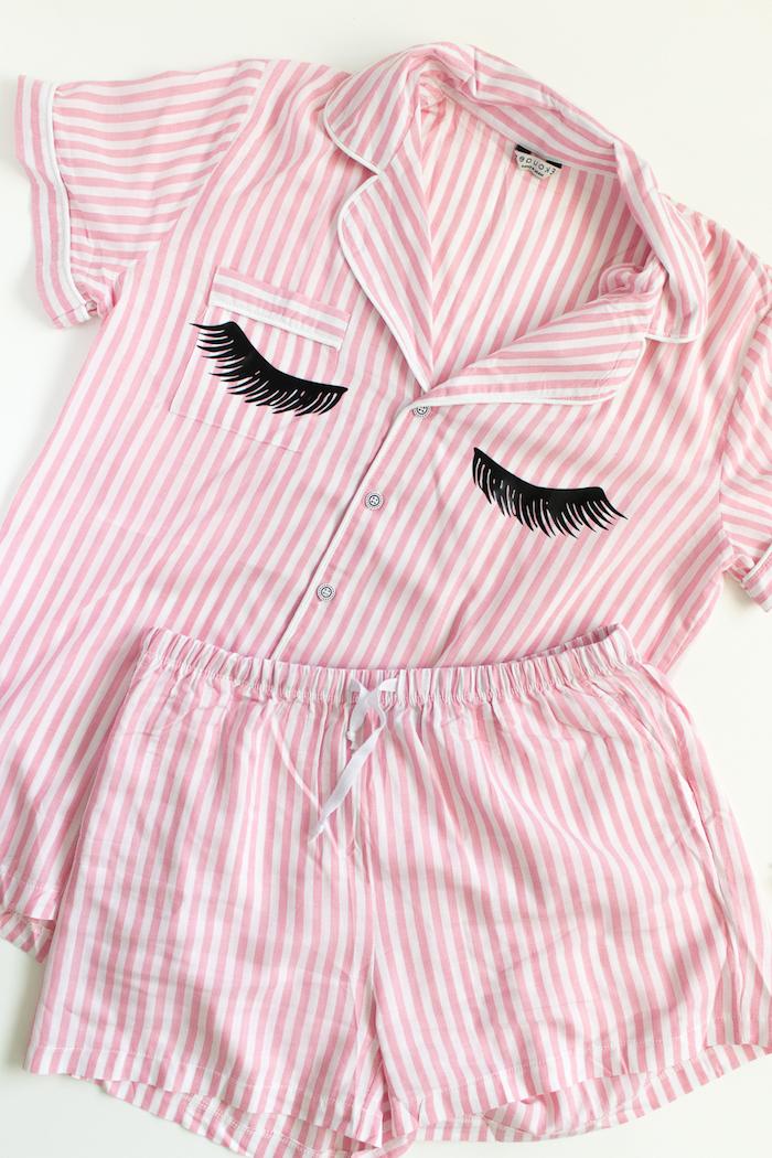 Schlafanzug selbst bedrucken, Wimpern Schablone kleben, Ideen für selbstgemachte Geschenke