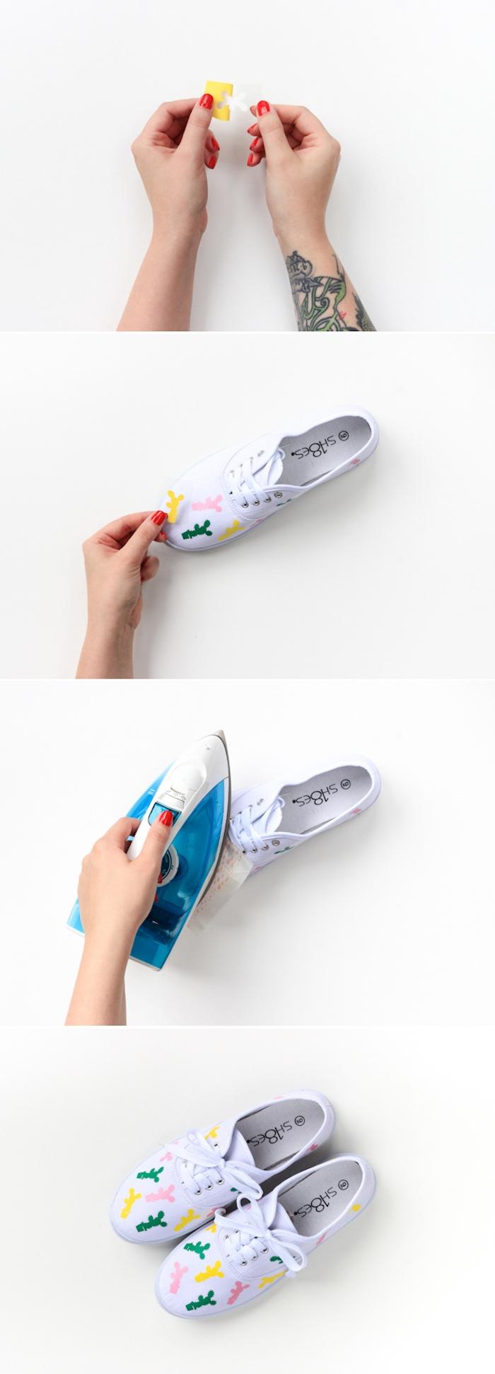 Weiße Sneaker selber dekorieren, mit kleinen bunten Kakteen, DIY Anleitung in vier Schritten