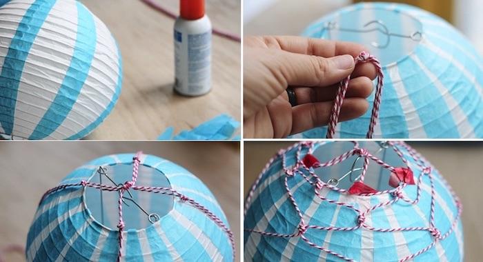 geschenke zum geburt basteln, papierlaterne in weiß und blau, diy bastelaleitung