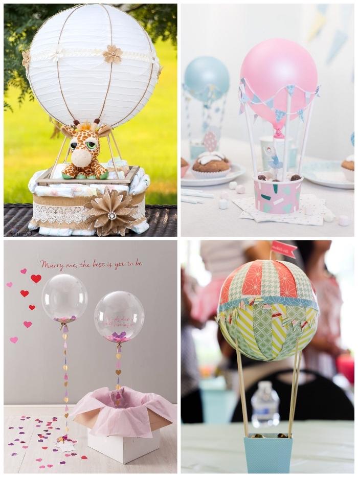 geschenke zum geburt basteln, rosa ballon, kleine giraffe, konfetti, weiße papierlaterne