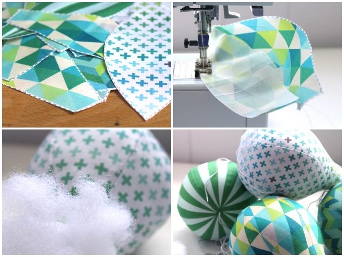 geschenke zum geburt basteln, stoff mit geometrischem muster, luftballons nähen