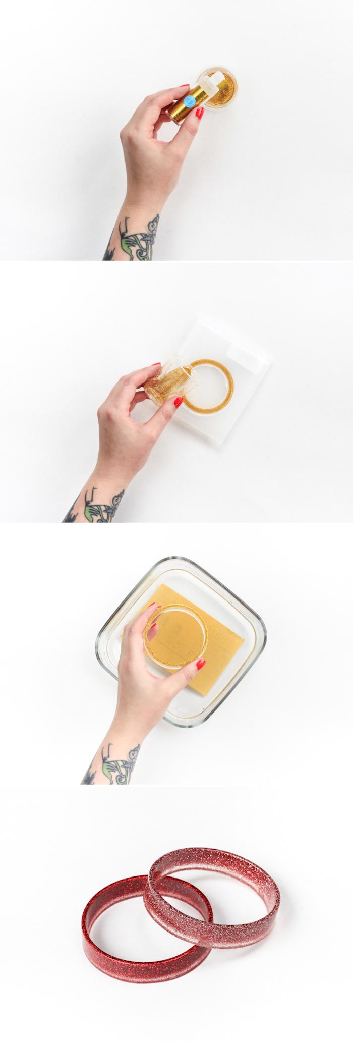 Glitter Armbänder selber machen, DIY Anleitung in vier Schritten, Idee für selbstgemachtes Geschenk