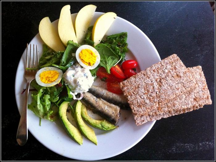 10 regeln der dge, vollkornbrot mit frischem gemüse, avocado, tomaten, spinat, grünsalat, eier, apfel, und ein stück fisch