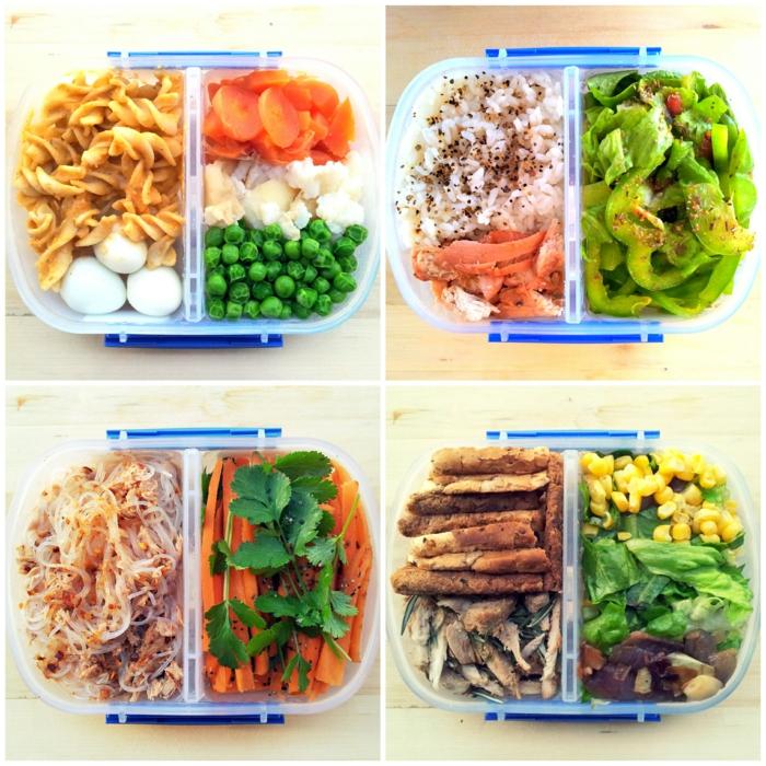 gesunde ernährung tipps und ideen zum mealprep, vorbereitung der speisen und in box lagern, essen zum mitnehmen, vier kasten mit zwei spalten für gemüse und proteine bzw kohlenhydrate