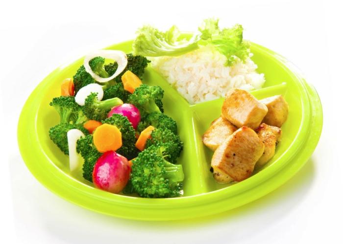 was ist gesunde ernährung, die richtige verteilung des tellers, brokkoli, karotten, rübe, fleisch, reis