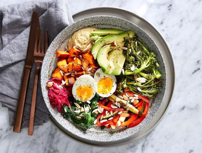beispiel für speise, gesunde ernährung, salat, bunter salat mit vielen nahrstoffen, ei, avocado, paprika, tomaten, rohe samen, grpnsalat