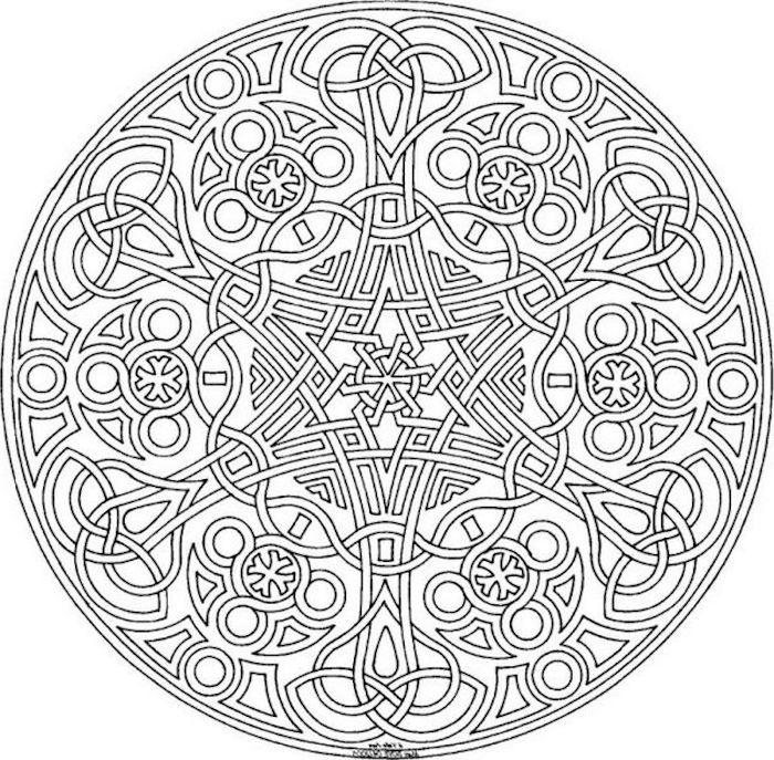 gratis malvorlagen, mandala mit keltischen motiven, kleine detaile, symbol
