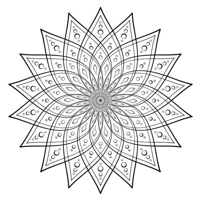 gratis malvorlagen, symmetrische elemente, kreide und vierecke, große blüte