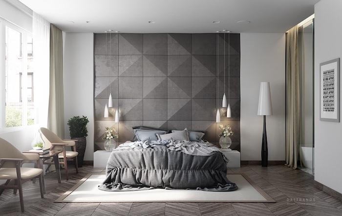 graue wand, weiße hängelampen, boden aus holz, hohe stehlampe, schlafzimmer deko ideen