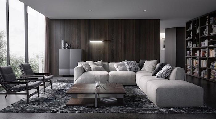graue wand, wanddeko wohnzimmer, holzwand mit beleuchtung, regale mit bücher, ecksofa