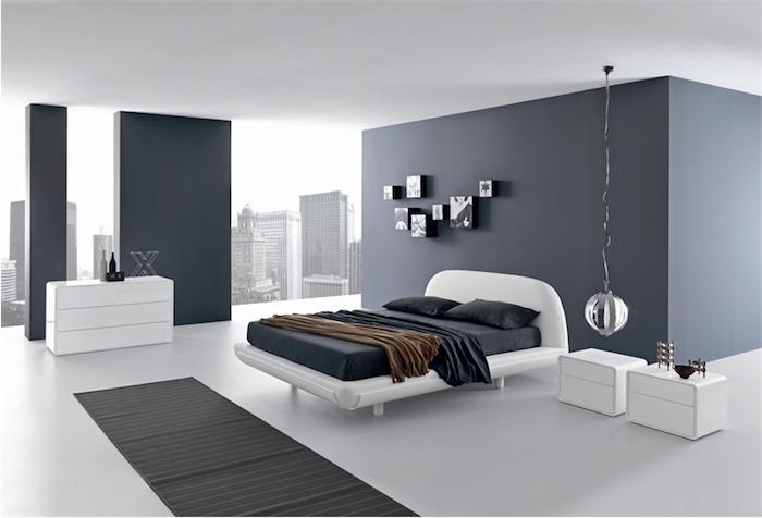 grau wand, schlafzimmer gestaltungsideen, kleiner bilder, silberne hängelampe, weiße nachttische