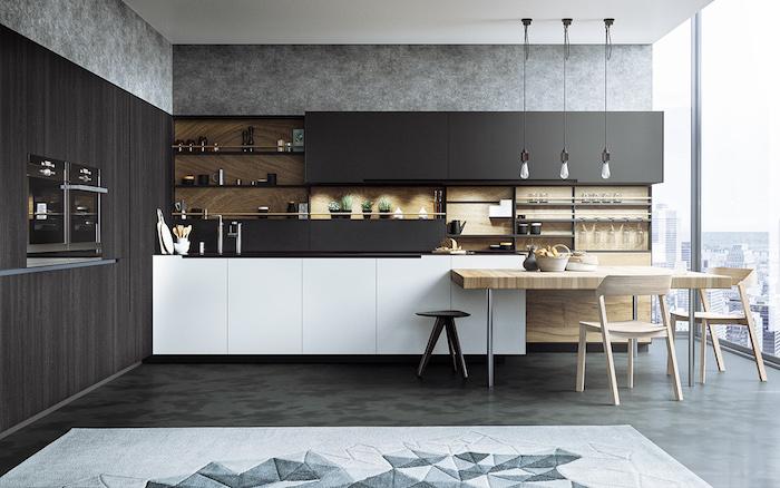 kücheneinrichtung in dunkelgrau, grautöne wandfarbe, esstisch aus holz