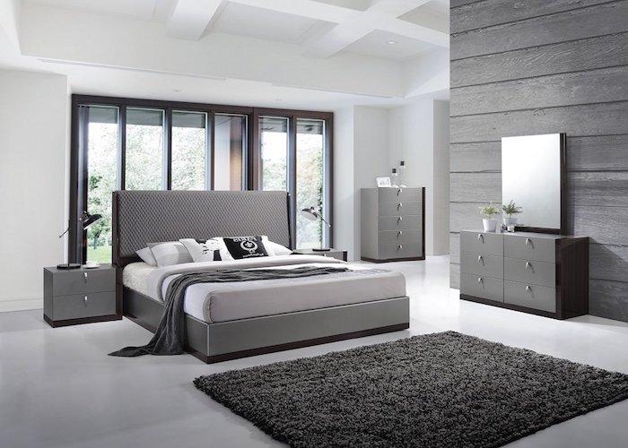 schlafzimmer grau einrichten, grautöne wandfarbe, möbel set, schränke mit vielen schubladen