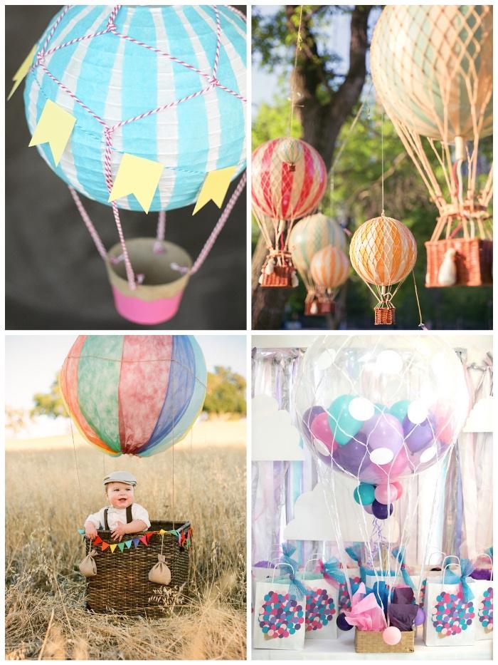 deko heißluftballon, großer geflochtener korb, großer ballon, geschenk zum geburtstag, gartendeko selber machen