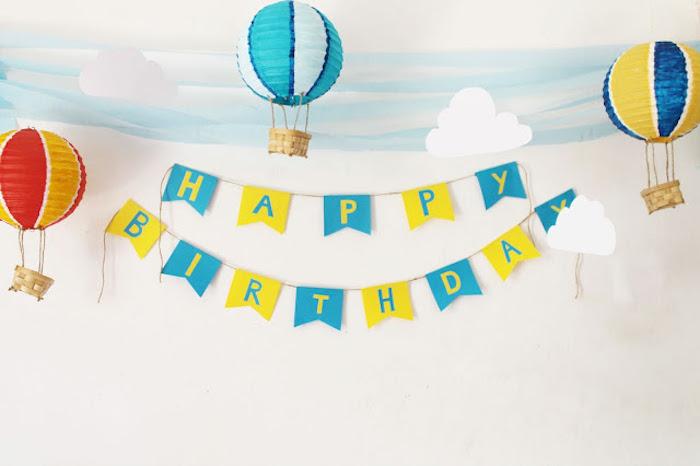 heißluftballon deko selber machen, partydeko basteln, diy laternen, geburtstagsparty