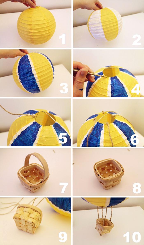 heißluftballon deko selber machen, gelbe papierlaterne bemalen, kleiner korb, diy trutorial