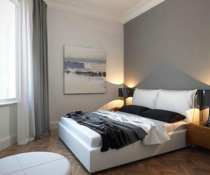 hellgrau wandfarbe, kleines schlafzimmer einrichten, großes bild, schwarze tischlampen