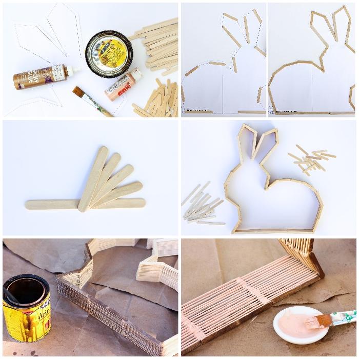 basteln mit holz, ostern, dekoration selber machen, hase aus holzstäbchen