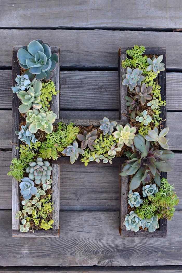 holzdeko garten, großer buchstaben aus holz, kleine grüne pflanzen, wanddeko