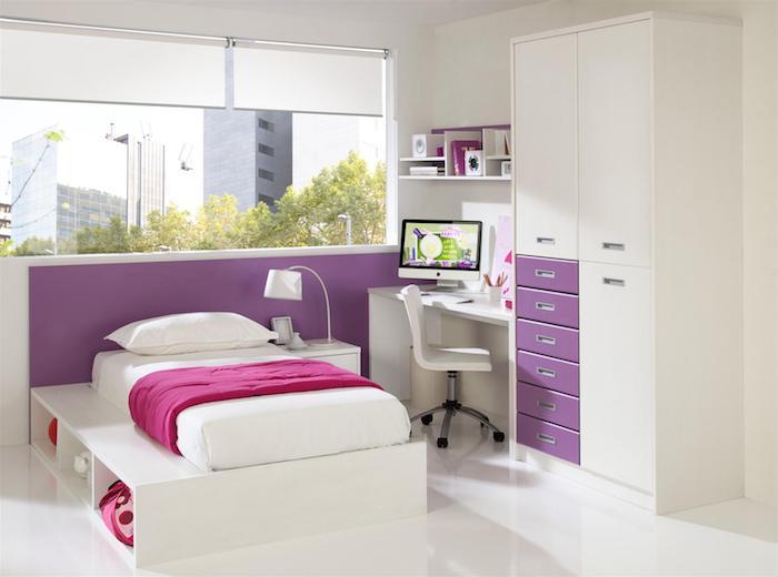 jugend mädchenzimmer, bett mit schubladen, möbel set in weiß und lila, rollos