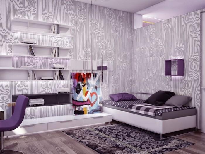 jugend mädchenzimmer in lila, wandtapete mit holz muter, lila stuhl, abstraktes bild