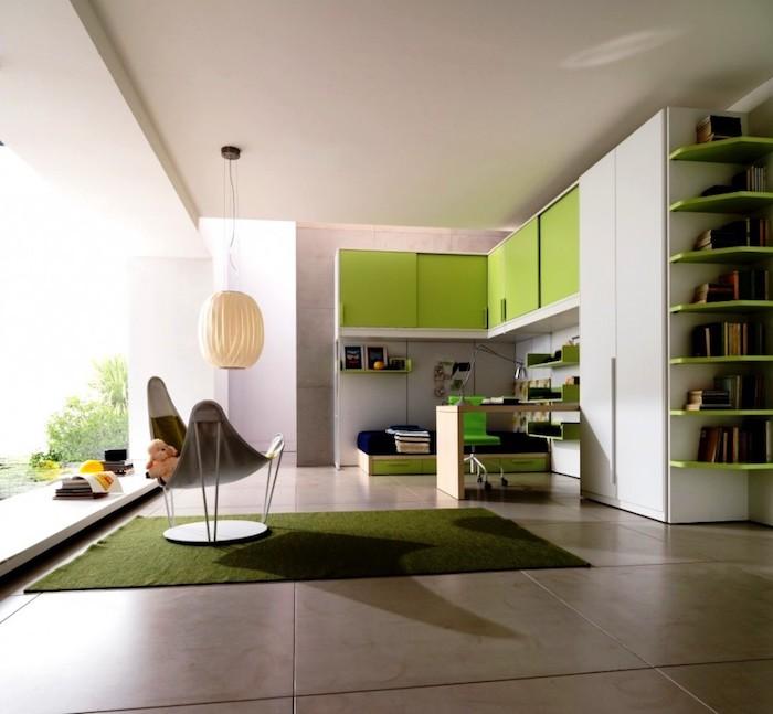 jugendzimmer einrichten, große keramikfliesen, weiße pendelleuchte, möbel in grün und weiß