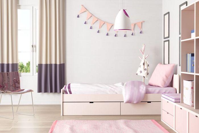 jugendzimmer für mädchen, weiße wände, rosa möbel, hängende lampe, pndelleuchte